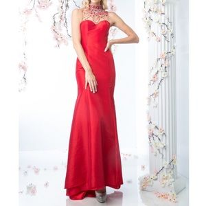 Red Satin Sleeveless Evening Dress